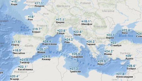 Температура воды в Европе в Сентябре