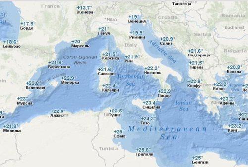 Температура воды в Европе в Октябре