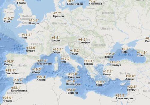 Температура воздуха в Европе в Ноябре