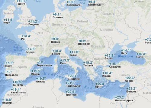 Температура воды в Европе в Ноябре